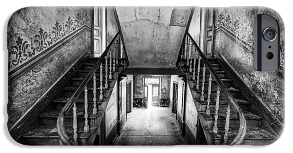 Haunted House iPhone Cases - Lost glory staircase - abandoned castle iPhone Case by Dirk Ercken
