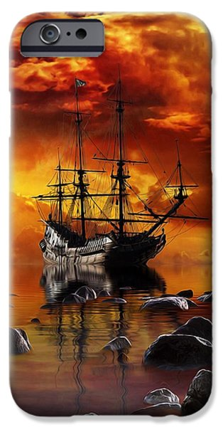 Tall Ship Mixed Media iPhone Cases - Lost in Time iPhone Case by Gabriella Weninger - David