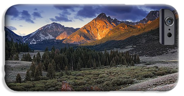 Sunrise iPhone Cases - Lost River Mountains Moon iPhone Case by Leland D Howard