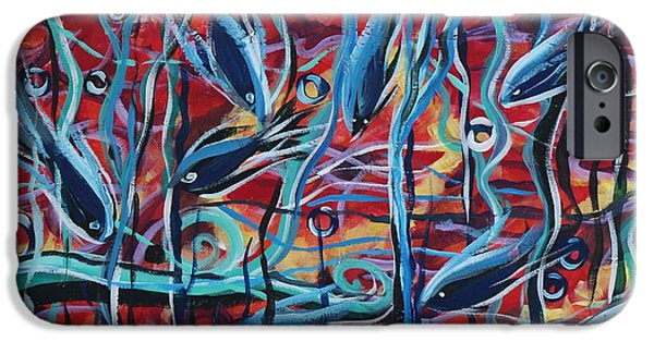 Alga Paintings iPhone Cases - Lost underwater iPhone Case by Irene Murray
