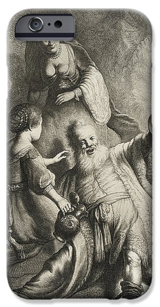 Religious Drawings iPhone Cases - Lot and His Daughters iPhone Case by Jan Georg van Vliet