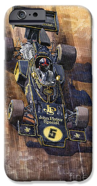 1972 iPhone Cases - Lotus 72 Canadian GP 1972 Emerson Fittipaldi  iPhone Case by Yuriy  Shevchuk