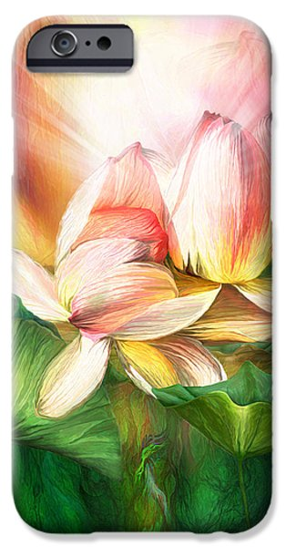 Flower Of Life Mixed Media iPhone Cases - Lotus - Spirit Of Life iPhone Case by Carol Cavalaris