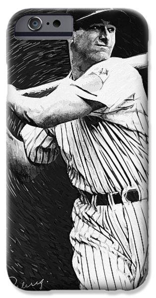 Old Digital Art iPhone Cases - Lou Gehrig iPhone Case by Taylan Soyturk