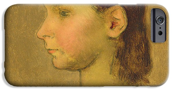 Little Girl iPhone Cases - Louise Millet iPhone Case by Jean-Francois Millet