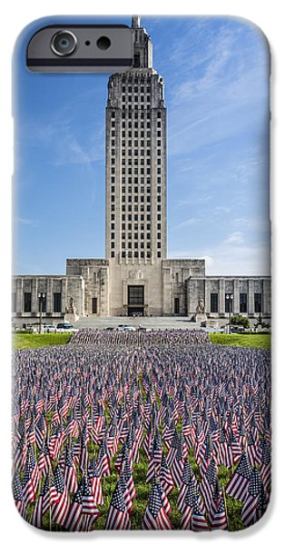 Power iPhone Cases - Louisiana Memorial Day flags iPhone Case by Andy Crawford