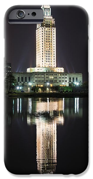 Architecture iPhone Cases - Louisiana State Capitol in reflection iPhone Case by Andy Crawford