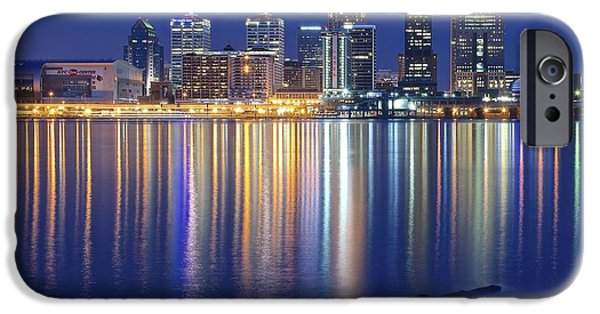 Louisville iPhone Cases - Louisville During Blue Hour iPhone Case by Frozen in Time Fine Art Photography