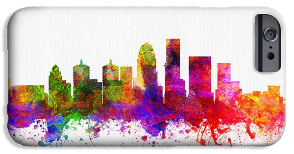 Louisville iPhone Cases - Louisville Kentucky Skyline Color02 iPhone Case by Aged Pixel