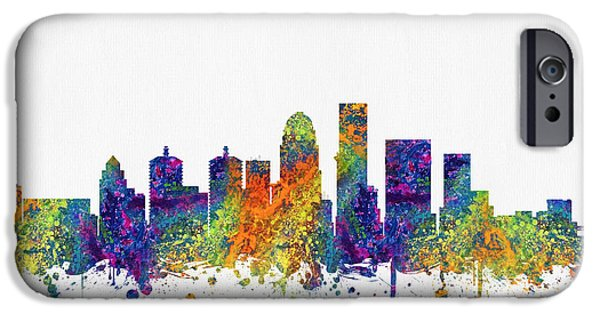 Louisville iPhone Cases - Louisville Kentucky skyline color03 iPhone Case by Aged Pixel