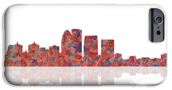City Scape Digital Art iPhone Cases - Louisville Kentucky Skyline iPhone Case by Marlene Watson