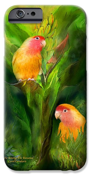 Tree Art Print Mixed Media iPhone Cases - Love Among The Bananas iPhone Case by Carol Cavalaris