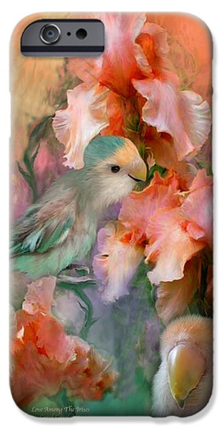 Floral Mixed Media iPhone Cases - Love Among The Irises iPhone Case by Carol Cavalaris