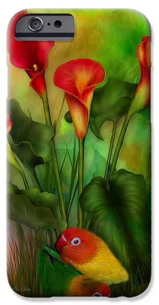 Lovebird iPhone Cases - Love Among The Lilies  iPhone Case by Carol Cavalaris