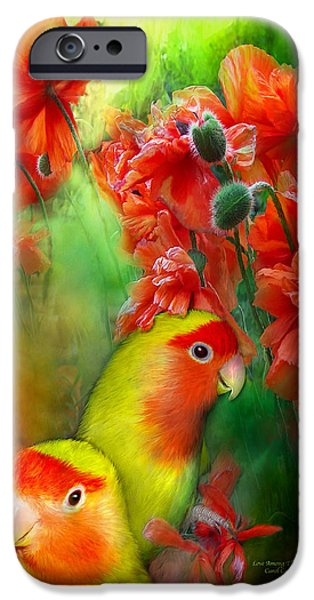 Lovebird iPhone Cases - Love Among The Poppies iPhone Case by Carol Cavalaris