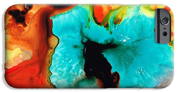 Abstract Canvas Paintings iPhone Cases - Love And Approval iPhone Case by Sharon Cummings