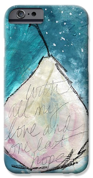Interior Still Life iPhone Cases - Love and Hope Pear- Art by Linda Woods iPhone Case by Linda Woods