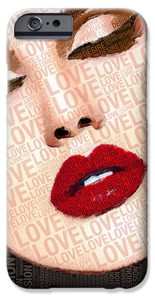 Model iPhone Cases - Love And Passion Portrait Of A Woman With Words iPhone Case by Tony Rubino