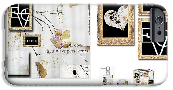 Shower Curtain iPhone Cases - Love Collage Bath Accessories iPhone Case by Anahi DeCanio