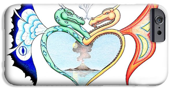 Serpent iPhone Cases - Love Dragons iPhone Case by Robert Ball