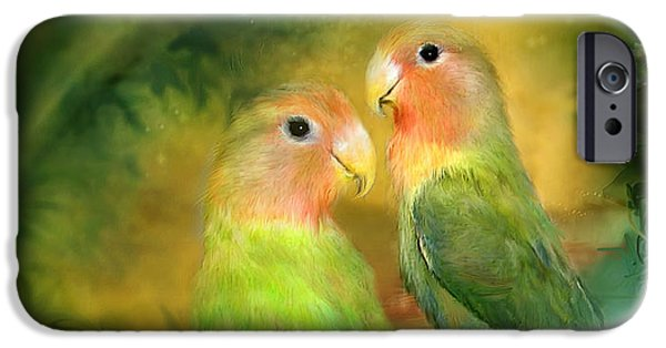 Lovebird iPhone Cases - Love In The Golden Mist iPhone Case by Carol Cavalaris