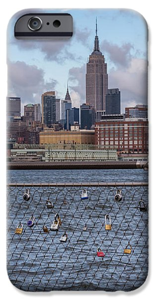 Buildings iPhone Cases - Love Locks Hoboken NYC Skyline iPhone Case by Terry DeLuco