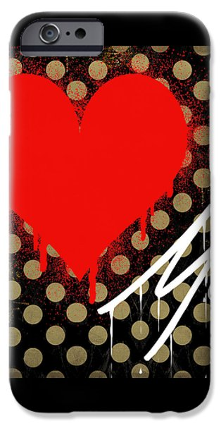 Spray Paintings iPhone Cases - Love Me II iPhone Case by Mindy Sommers