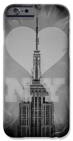 Empire State Digital iPhone Cases - Love New York BW iPhone Case by Az Jackson