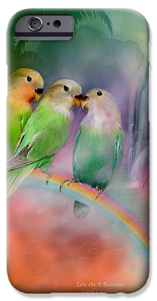 Lovebird iPhone Cases - Love On A Rainbow iPhone Case by Carol Cavalaris
