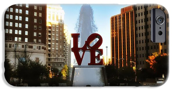 Phillies Digital iPhone Cases - Love Park - Love Conquers All iPhone Case by Bill Cannon