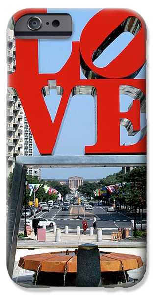 Love Sculptures iPhone Cases - Love sculpture in Philadelphia iPhone Case by Carl Purcell
