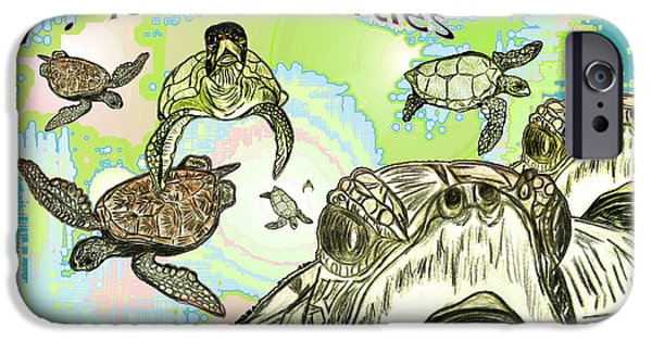 Kemp iPhone Cases - love Sea Turtles iPhone Case by W Gilroy