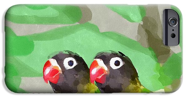 Lovebird iPhone Cases - Lovebirds iPhone Case by Chris Butler