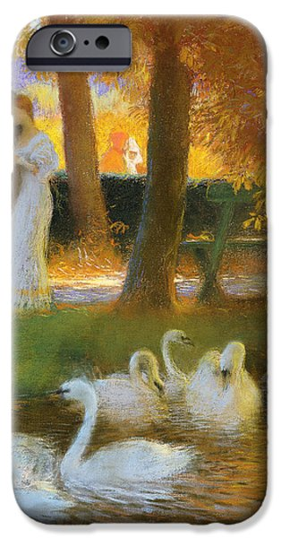 Relationship iPhone Cases - Lovers and Swans  The Autumn Walk iPhone Case by Gaston de Latouche