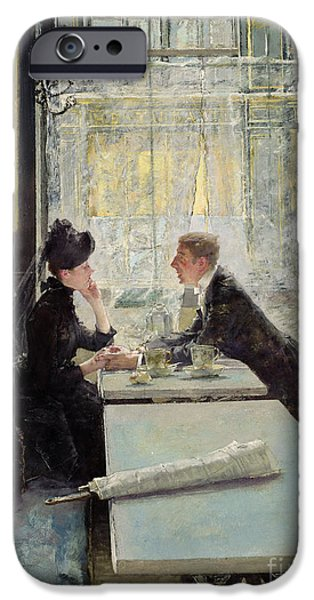 Relationship Photographs iPhone Cases - Lovers in a Cafe iPhone Case by Gotthardt Johann Kuehl