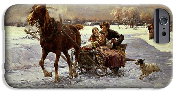 Couple iPhone Cases - Lovers in a sleigh iPhone Case by Alfred von Wierusz Kowalski