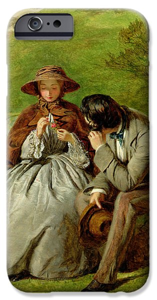 Relationship Paintings iPhone Cases - Lovers iPhone Case by William Powell Frith