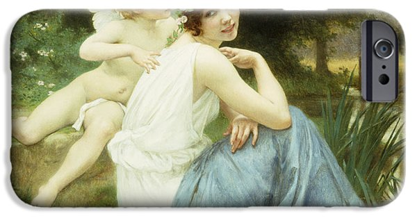 Floating Girl Paintings iPhone Cases - Loves Whisper iPhone Case by Guillaume Seignac