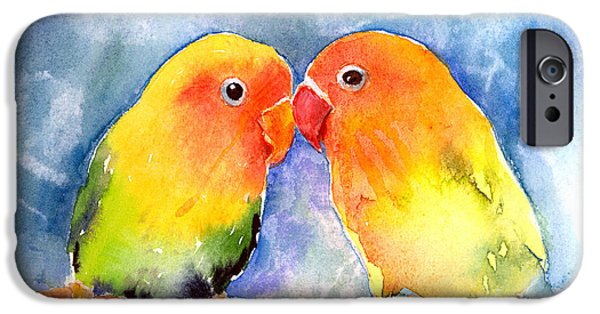 Lovebird iPhone Cases - Lovey Dovey Lovebirds iPhone Case by Arline Wagner