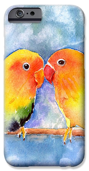 Lovey Dovey Lovebirds iPhone Case by Arline Wagner