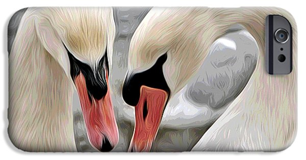 Swans... Pyrography iPhone Cases - Loving Couple iPhone Case by Elaine Somers