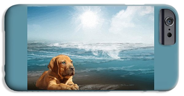 Puppies Digital Art iPhone Cases - Loving The Ocean iPhone Case by EricaMaxine  Price