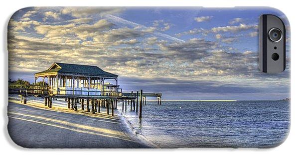 Tybee Island Pier iPhone Cases - Low Tide Sunrise Tybee Island iPhone Case by Reid Callaway