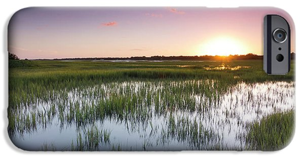 Floods iPhone Cases - Lowcountry Flood Tide Sunset iPhone Case by Dustin K Ryan