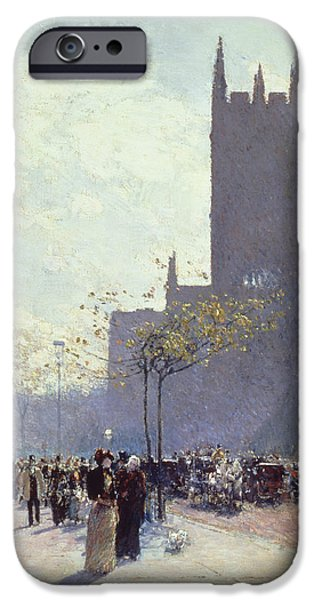 Nineteenth Paintings iPhone Cases - Lower Fifth Avenue iPhone Case by Childe Hassam
