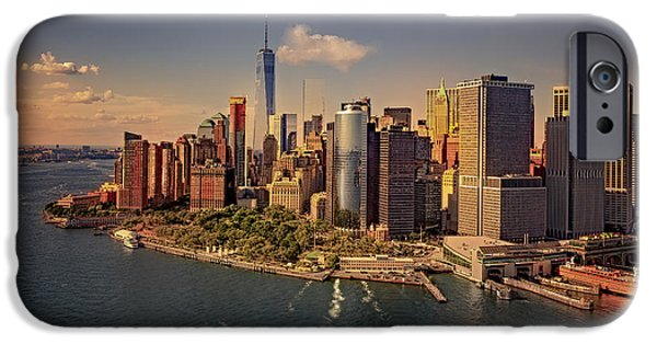 Freedom iPhone Cases - Lower Manhattan Aerial View iPhone Case by Susan Candelario