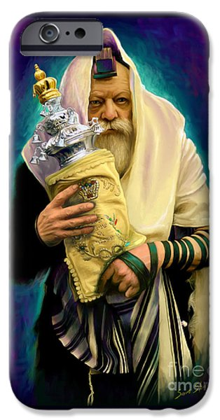 Jewish iPhone Cases - Lubavitcher Rebbe with torah iPhone Case by Sam Shacked