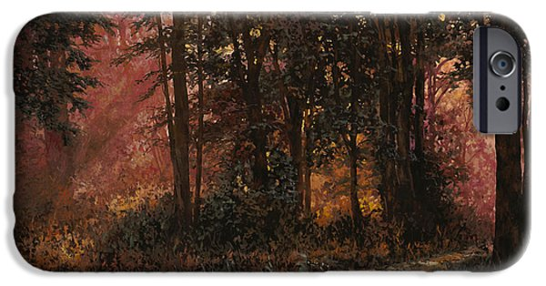 Rays Paintings iPhone Cases - Luci Nel Bosco iPhone Case by Guido Borelli