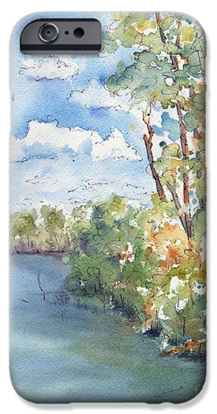 Willow Lake iPhone Cases - Lucien Lake Shoreline iPhone Case by Pat Katz
