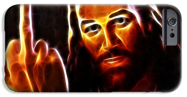 Jesus Face iPhone Cases - Lucifer This is For You iPhone Case by Pamela Johnson
